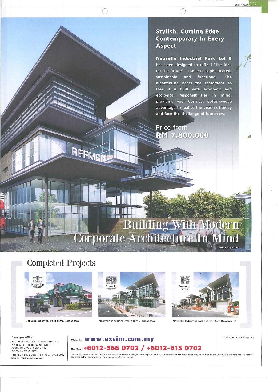 Nouvelle Industrial Park Lot 8 @Kota Damansara - The Edge Malaysia 1 April 2013  (1st)