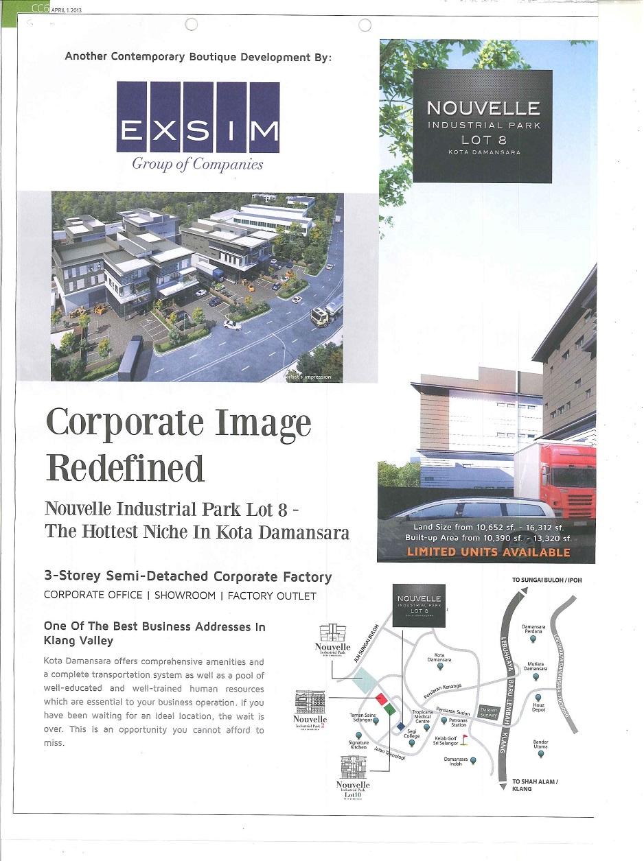 Nouvelle Industrial Park Lot 8 @Kota Damansara - The Edge Malaysia 1 April 2013  (2nd)