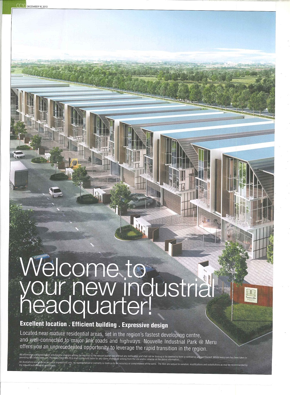 Nouvelle Industrial Park @ Meru - The Edge Malaysia 16 Dec 2013 (1st)