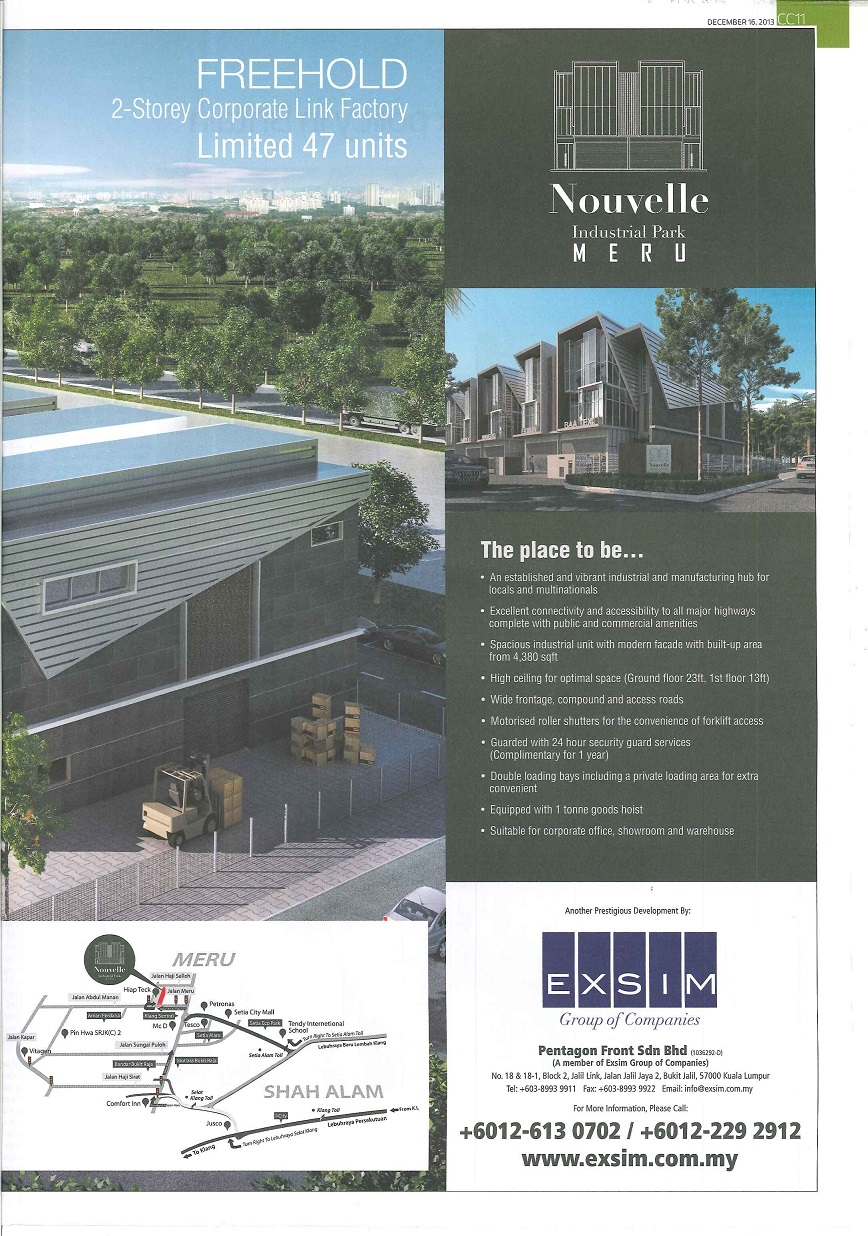 Nouvelle Industrial Park @ Meru - The Edge Malaysia 16 Dec 2013 (2nd)