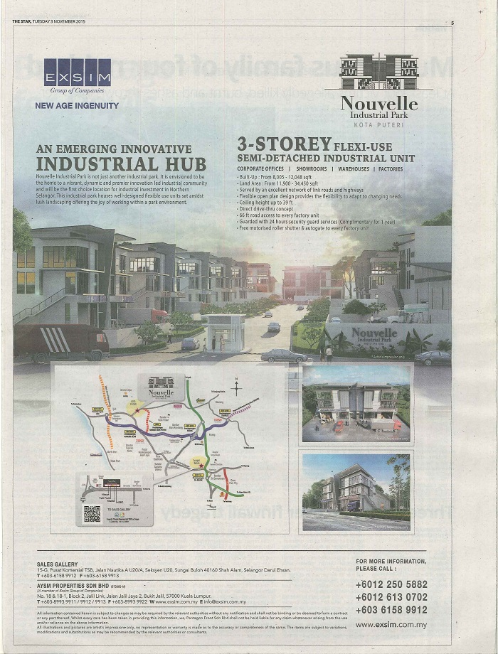 Nouvelle Industrial Park @ Kota Puteri - The Star 3 Nov 2015