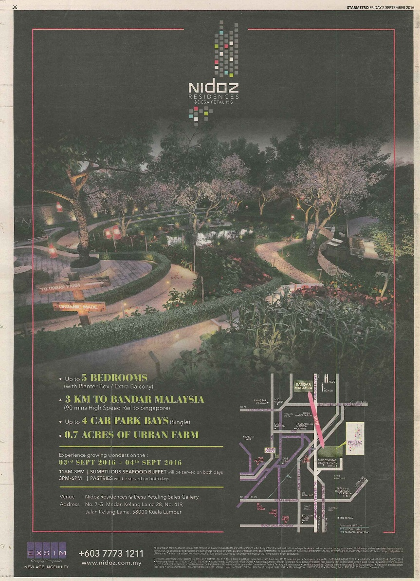 Nidoz Residences @ Desa Petaling - The Star 2 Sep 2016