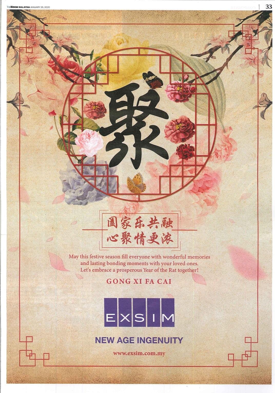 EXSIM - The Edge Malaysia 20 Jan 2020