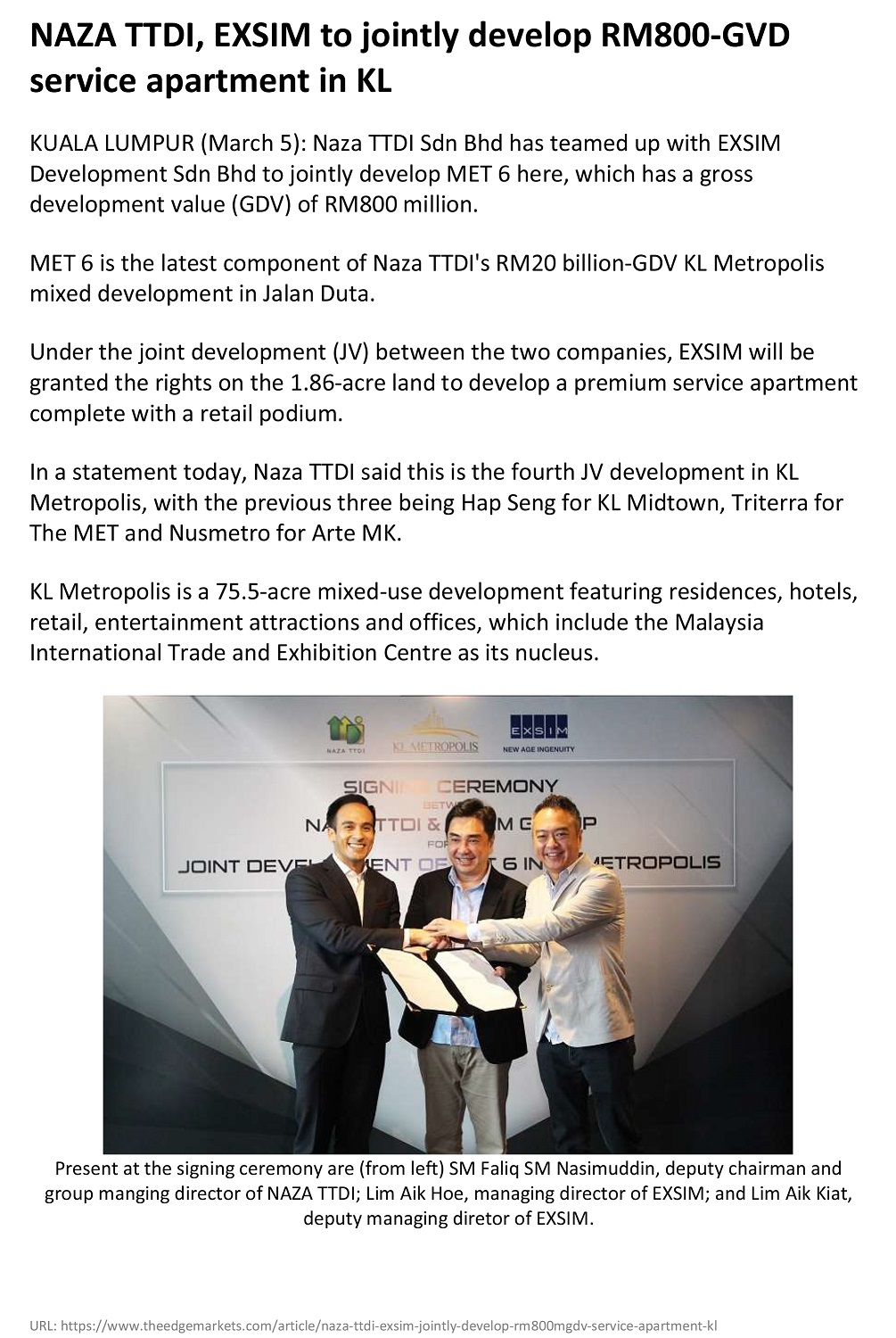The Edge Malaysia - NAZA TTDI, EXSIM to jointly develop RM800-GVD service apartment in KL