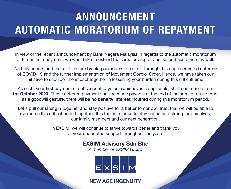 ANNOUNCEMENT - AUTOMATIC MORATORIUM OF REPAYMENT