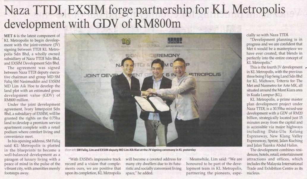 The Malaysian Reserve - Naza TTDI, EXSIM forge partnership for KL Metropolis development with GDV of RM800m