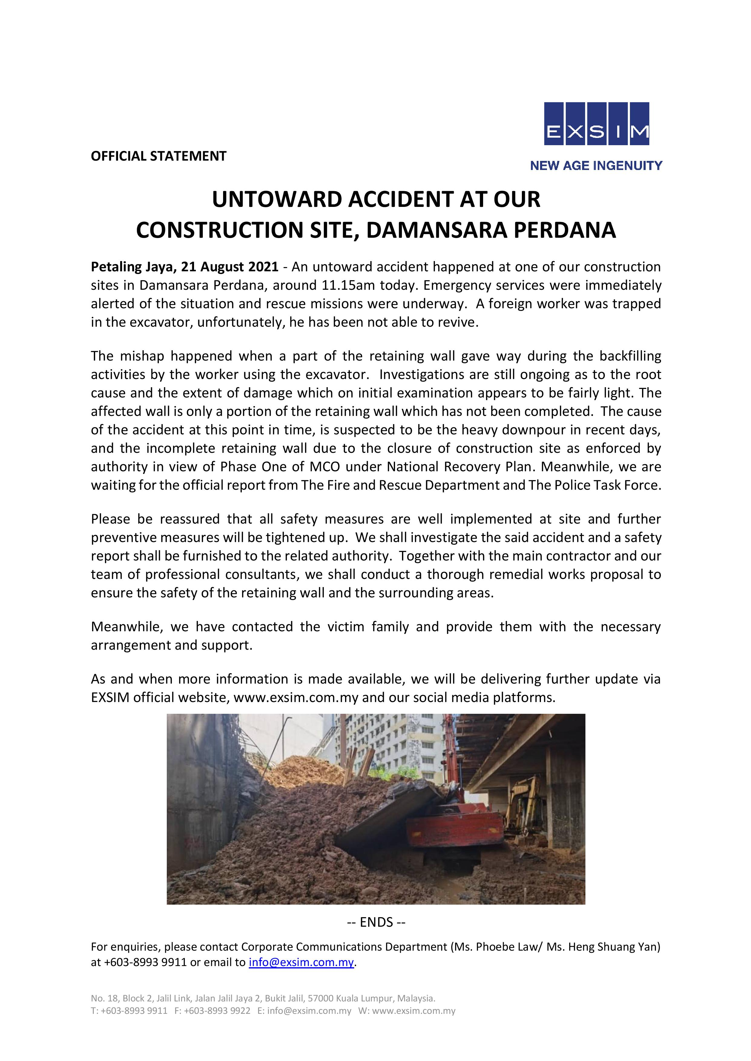 OFFICIAL STATEMENT - UNWARRANTED ACCIDENT AT OUR CONSTRUCTION SITE AT DAMANSARA PERDANA